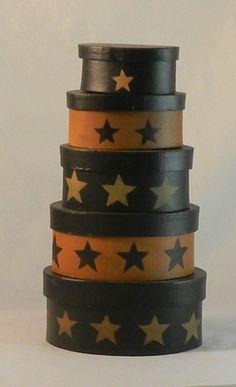 Nesting Boxes Oval (5) Black Star #469