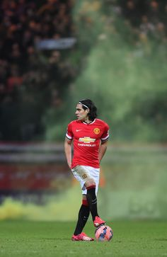 We love this atmospheric shot of @manutd striker Radamel Falcao preparing to kick-off against Preston North End on 16 February 2015.
