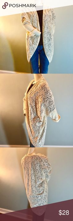 ⚠️SALE⚠️ Forever 21 Boho Lace Kimono In excellent condition, this sweet kimono is made of 50% cotton/50% nylon. Pretty over a dress or jeans. 3/4 length sleeves and batwing design. Loose, breezy and fabulous. Forever 21 Sweaters Shrugs & Ponchos
