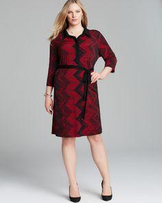 Karen Kane Black and Red  Plus Size Fashion Three Quarter Sleeve Belted Shirt Dress #Karen_Kane  #Plus #Size #Fashion #Plus_Size_Fashion #Bloomingdales