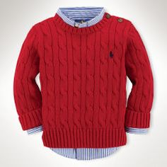 Cable-Knit Cotton Sweater - Infant Boys Jumpers - Ralph Lauren France