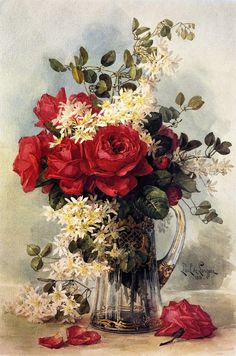 Fresh From The Garden Artwork By Paul De Longpre Oil Painting & Art Prints On Canvas For Sale Victorian Flowers, Vintage Flowers, Art Floral, China Painting, Oil Painting Flowers, Flower Paintings, Rose Art, Vintage Artwork, Beautiful Paintings