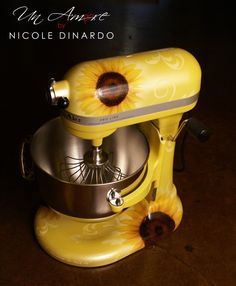 Custom Painted Sunflower KitchenAid Mixer would prefer a red background with sunflowers and daisies.