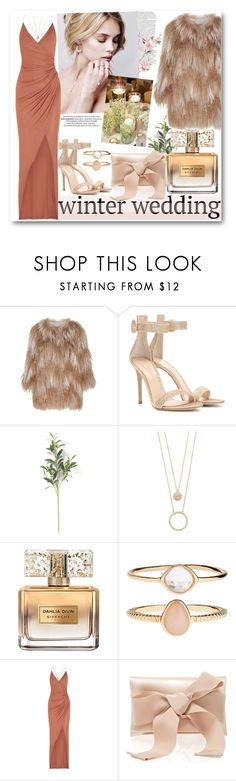 """""""Winter Wedding"""" by bruushh ❤ liked on Polyvore featuring Meteo by Yves Salomon, Gianvito Rossi, Kate Spade, Givenchy, Accessorize, Balmain and Oscar de la Renta"""