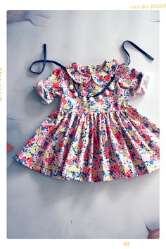 The Suzani Peter Pan Collar Girls Floral Spring Dress | The Star Child Collection by Fleur + Dot. Vintage Modern Apparel. Handmade childhoods.