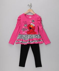 Take a look at this Dark Pink Zebra Elmo Tunic & Leggings - Infant & Toddler by Sesame Street on #zulily today!
