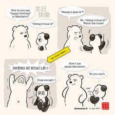 'Orimental by Panda And Polar Bear Panda Love, Cute Panda, Amor Ideas, Cute Quotes For Life, Fun Quotes, Panda Lindo, Cartoon Panda, We Bare Bears, Sweet Words