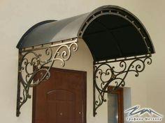 Pergola Over Front Door Front Door Awning, Front Door Canopy, Door Overhang, Iron Gates, Iron Doors, Gate Design, Door Design, Iron Pergola, Wrought Iron Decor