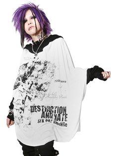 DESTRUCTION BIG DOLMAN Cutsew | CDJapan. See more at http://www.cdjapan.co.jp/apparel/sexpot.html #punk #japanesefashion