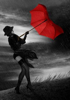 My red umbrella  Like a lover    I hold on   For dear life    Thinking for a moment  That maybe I am     Really Mary Poppins  Clearly the books that I read as a child    Have gone to my red headed brain. Kind of like wind and weather   Hidden under an amber disguise     Like trees  In November    Or legs   Under a tweed skirt.