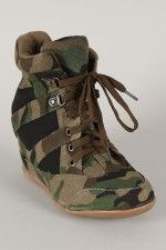 Dana-13 Camouflage High Top Lace Up Wedge Sneaker......... I WANT THESE SHOES