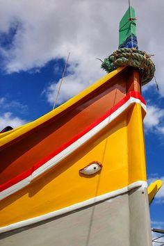 "The ""eye"" on the front of traditional Maltese fishing boats - Marsaxlokk, Malta via Ever in Transit"