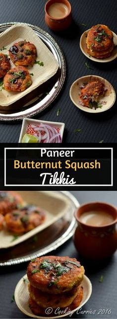 Paneer Butternut Squash Tikkis - Appetizers - Indian Food - Vegetarian - www.cookingcurries.com