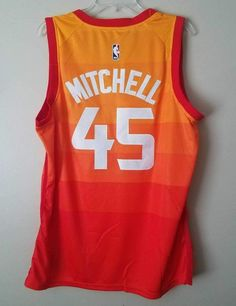 5deebbe980eb Men 45 Donovan Mitchell Jersey City edition Yellow Orange Utah Jazz