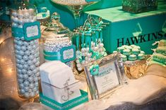 Tiffany themed candy & dessert table! Pretty!!