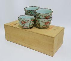 Arita Hasami Imari Japanese Handpainted Ceramic Five Piece Teacups with Original Wooden Storage Box, CecysAsianShop