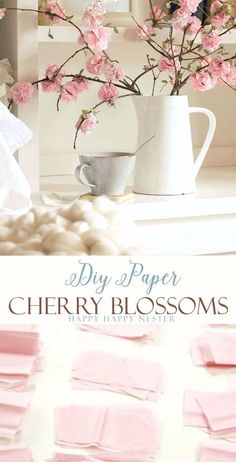 Make these easy DIY paper cherry blossom flowers. These spring paper flowers look so real and you'll love these flowers for years to come. This craft is so inexpensive to make and is easy as well. hand made paper DIY Paper Flowers Tutorial How To Make Paper Flowers, Paper Flowers Craft, Flower Crafts, Diy Flowers, Spring Flowers, Flowers Decoration, Tissue Paper Flowers Easy, Wedding Flowers, Flower Paper