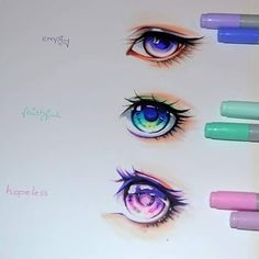 "8,393 curtidas, 117 comentários - Lighane (@lighanesartblog) no Instagram: ""#Hopeless, #faithful or #empty - which one is your favourite? Even more anime and manga eyes I just…"""