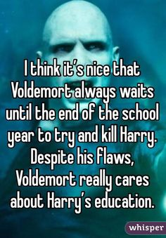 I think it's nice that Voldemort always waits until the end of the school year to try and kill Harry. Despite his flaws, Voldemort really cares about Harry's education.