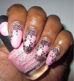 L.A. Colors- Danity, BM XL-206 #bundlemonster #nailstamp4fun #lacolors #flowernails