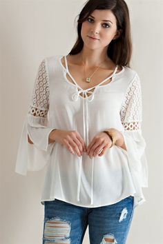 @knittedbelle #knittedbelle Tie Up Neckline Blouse - Off White - Knitted Belle Boutique  - 1