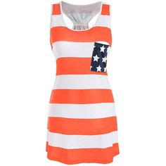 American Flag Print Patriotic Racerback Tank Dress (510 RUB) ❤ liked on Polyvore featuring dresses, red tank dress, red orange dress, orange tank dress, racer back dress and tank dresses