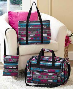 3 Pc Travel Bag Sets Gray Tribal Duffle Bag, Tote & Crossbody Weekender Luggage #Unbranded
