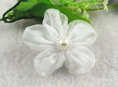 24 Pcs Organza Ribbon Flowers W/beads Sewing Wedding Appliques Hot (White) ** More info could be found at the image url.