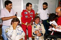 (L to R): Christian Danner (GER) BS Automotive March; Emanuele Pirro (ITA) Onyx March; and Mike Thackwell (NZL) Ralt are interviewed by the media. 1985 European Formula 3000 Championship - © Sutton Motorsport Images