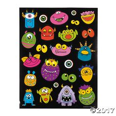 Monster Bash Character Sticker Sheets : Each sheet contains 23 assorted stickers cm - cm x cm - cm) Monster 1st Birthdays, Monster Birthday Parties, 7th Birthday, Birthday Ideas, Craft Stickers, Cool Stickers, Monster Party Favors, Custom Birthday Banners, Book Wrap
