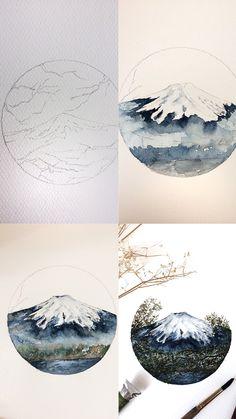 (@rosies.sketchbook) Process photos of my watercolor painting of Mount Fugi. #watercolor #watercolour #painting #sketch #art #artist #artwork #draw #drawing #doodle #watercolorist #illustration #illustrate