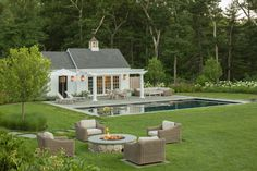 The Cupola: A Study of Form & Function Small Backyard Patio, Backyard Patio Designs, Backyard Office, Indoor Outdoor Living, Outdoor Spaces, Country Pool, Country House Outdoor, Small Pool Houses, Pool House Designs