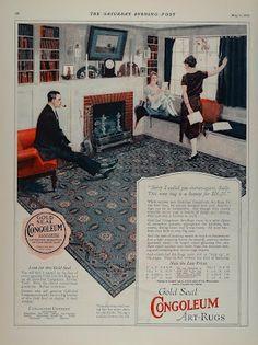 1923 Congoleum Gold Seal Art Rugs Flooring Vintage Home
