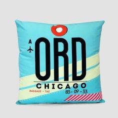 ORD - Chicago - O Hare Airport - Pillow Cover Travel Room Decor f4e2802d58db