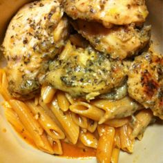 Garlic Pesto Chicken with Tomato Cream Penne Recipe I think I am going to try to incorporate this into a Crock Pot recipe! Instead of marinating it overnight I'm going to slow cook it all day... yummmm