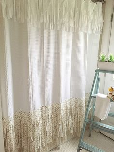 """Shabby Chic Shower Curtain Bohemian Bathroom Shower Curtains Hand Made Fringe Gold with White 82"""" long"""