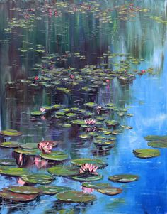 Water Painting - Water Lilies by Tatiana Gracheva Water Lilies Painting, Pond Painting, Lotus Painting, Monet Water Lilies, Lily Painting, Garden Painting, Sketch Painting, Claude Monet, Les Nénuphars Monet