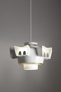 Alvar Aalto; Enameled Metal, Brass and Glass Prototype Suspension Light for Louis Carré House. Finland, 1958.