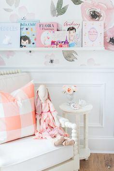 Touring Monika Hibbs's Oh-So Sweet Blush Pink Nursery illustrated audrey hepburn book Baby Girl Nursery Themes, Baby Room Decor, Nursery Room, Nursery Decor, Room Baby, Baby Rooms, Nursery Bookshelf, Kids Decor, Home Decor