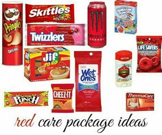Care Package - Red theme for best friends red Theme Baskets, Themed Gift Baskets, Birthday Gift Baskets, Diy Gift Baskets, Raffle Baskets, Diy Gifts In A Jar, Bff Gifts, Homemade Gifts, Cute Gifts