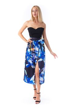 Whether you've got an upcoming private party or a wedding to attend, your hunt for a sophisticated look will end with the Midnight Bouquet Skirt. Designer Wear, Evening Dresses, Strapless Dress, Party Dress, Bouquet, Unique, Skirts, How To Wear, Collection