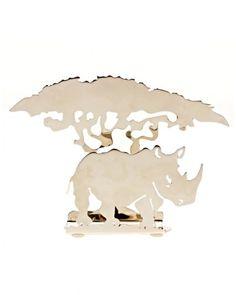 Metallic rhino shaped business card holder