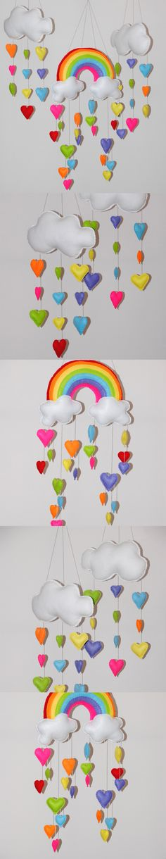 Rainbow and hearts – Set of 3 baby mobile ~ bright colours – felt rainbow and clouds – felt hearts – pick your own colours – crib mobile Rainbow and cloud with hearts Set of 3 mobiles by Felt Mobile, Baby Mobile, Sewing Projects, Projects To Try, Diy And Crafts, Arts And Crafts, 3rd Baby, Felt Hearts, Barn
