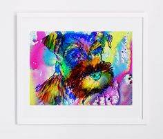 Watercolor Schnauzer owner gift dog Art print Aqua marine by OjsDogPaintings