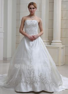 Wedding Dresses - $244.99 - Ball-Gown Sweetheart Cathedral Train Satin Wedding Dress With Embroidery Ruffle Beadwork (002004481) http://jjshouse.com/Ball-Gown-Sweetheart-Cathedral-Train-Satin-Wedding-Dress-With-Embroidery-Ruffle-Beadwork-002004481-g4481