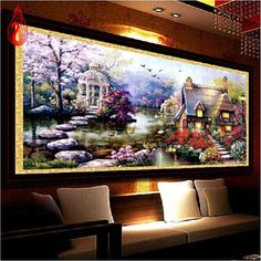 Ygs-32 5D Diy Landscapes Embroidery Diamond Painting Resin Kits Home Decoration