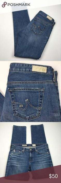 """AG The Stilt Calypso St. Barth Cigarette Leg Jeans AG Adriano Goldschmied The Stilt Calypso St. Barth Cigarette Leg Ankle Jeans Size 29. Excellent condition! Clean and comes from smoke free home. Questions welcomed. Approx. measurements: Waist: 15.75"""" across Rise: 8"""" Inseam: 29.75"""" Ag Adriano Goldschmied Jeans Skinny"""