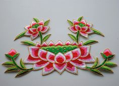 Lotus applique embroidery vintage flower patch dress accessories iron on patch…