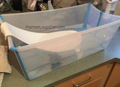 "Stokke Flexi Bath Review ~ Maman Loup's Den – Blogger says, ""The infant support works perfectly. """