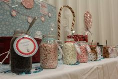 Hot Cocoa Bar--so fun for kids & adults of all ages! Put the items in mason jars with tags for a simple way to dress up any Christmas party!  Deals to Meals